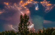 In Chile, A Lightning Storm Breaks Out Above An Erupting Volcano