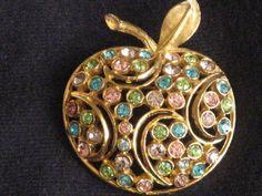 Gold-tone Apple Brooch Pin Pastel Rhinestones by RicksVintagePlus