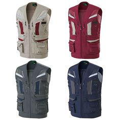Multi Pocket Mesh Reflective Work Vest Waistcoat Fishing Hunting Outdoor Jacket #Markapparel