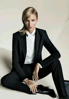 Anja Rubik Hugo Boss. Via @OnlyDrinkChamps. #suits #chic