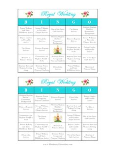 Royal wedding party ideas - Royal Wedding Bingo! Check out the blog for more games, food and drink ideas, and other ways to host your own royal wedding party.
