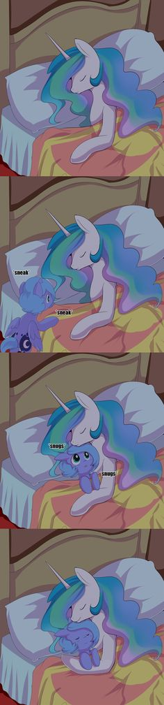 #915571 - artist:ende26, bed, cuddling, cute, daaaaaaaaaaaw, ende will be the end of us, eyes closed, filly, heartwarming, hnnng, lunabetes, pillow, princess celestia, princess luna, safe, sisters, sleeping, smiling, sneaking, snuggling, this will kill you, upvotes galore, weapons-grade cute, woona, woona knight - Derpibooru - My Little Pony: Friendship is Magic Imageboard