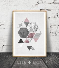 Scandinavian Art, Hexagon and Triangles, Geometric Design, Pink White Black Marble, Scandinavian Print Wall Art, Geometric, Hexagon Decor