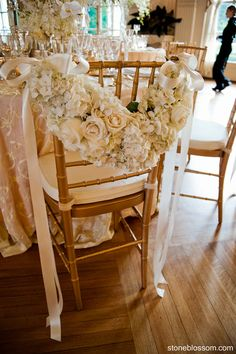 Wreath of flowers on chair back