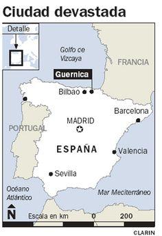 Guernica es un pueblo en Espana. General Franco y sus amigos militares bombardearon Guernica. El mural de Picasso,'Guernica', represente Guernica, Espana.