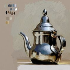 Realistic oil painting - StepByStep Tips For Painting Silver Objects In ArtRage – Realistic oil painting Still Life Drawing, Painting Still Life, Still Life Art, Realistic Oil Painting, Oil Painting Abstract, Painting Art, Watercolor Painting, Watercolor Artists, Watercolor Illustration