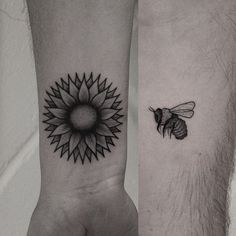 A bee and sunflower couple tattoo. This symbolizes how the two lovers need each other for their love to bloom. The bee and the flowers are dependent on each other for production and that is what the symbols are implying. Couple Tattoos, Cool Tattoos For Guys, Wrist Tattoos, Tatoos, Piercings, Ink, Couples, Artist, Drawings