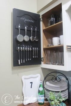 Kitchen Cabinet Measuring Cup Storage - The Everyday Home