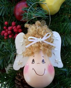 Hand Painted Light Bulb Angel Christmas Ornament