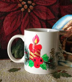 CHRISTMAS CANDLE Hand-decorated Coffee Mug