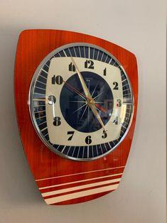 Cool Clocks, Babe Cave, Wall Clock Design, 1950s Design, Mantle Clock, Atomic Age, Mid Century Style, Blue Cream, Royal Blue