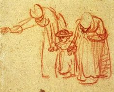 This gestural drawing by Rembrandt is completed using red chalk on rough, textured paper. With just a few expressive lines, we instantly recognise the scene: two women teaching a child to walk.