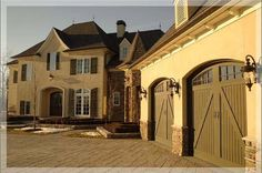 Great carriage house style garage doors.  Not sure of the color yet.