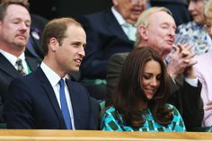 Prince William Duke of Cambridge and Catherine, Duchess of Cambridge in the Royal Box on Centre Court before the Gentlemen's Singles Final