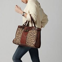 Fossil leather and leopard print bag. In LOVE! - Click image to ...