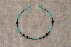 Simple chic necklace in gorgeous shades of blue and turquoise by BijoubeadsLondon Blue Necklace, Beaded Necklace, Necklaces, Fool Gold, Blue And Silver, Shades Of Blue, Turquoise Bracelet, Chic, Jewelry