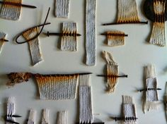 Alice Fox | Tide Line fragments (nails added to weaving then rusted; absolutely beautiful!) Rust+white+gray