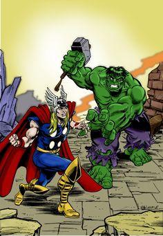 #Hulk #Fan #Art. (Thor vs Hulk in technicolor) By: Captblitzdawg. (COMIC ÅWESOMENESS!!!) [THANK U 4 PINNING!!]