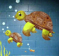 Mural of sea turtles for the classroom