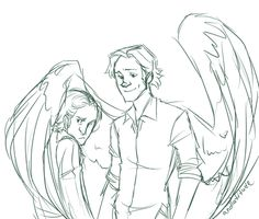 angel!Sam and human!Gabriel I literally screamed in my mind when I saw this thing