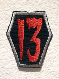 Lucky Number 13 Coffin  Patch Red by TrippingBalls on Etsy, $10.00