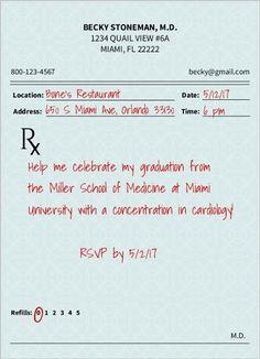 Prescription Pad Medical School Graduation Invitation