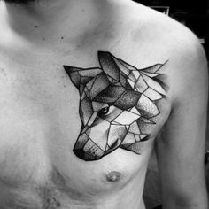 Geometric Wolf Design … M Wolf Tattoos, Animal Tattoos, Body Art Tattoos, Sleeve Tattoos, Tatoos, Lover Tattoos, Brown Tattoos, Gun Tattoos, Female Tattoos