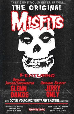 Watch MISFITS Feat. GLENN DANZIG JERRY ONLY And DOYLE Perform At Denver's RIOT FEST - Metal | Gothic | Steampunk