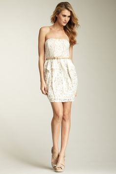Jessica Simpson Belted Strapless Dress