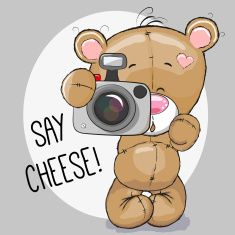 Illustration about Cute cartoon Teddy Bear with a camera on a gray background. Illustration of human, pets, illustrations - 57536848
