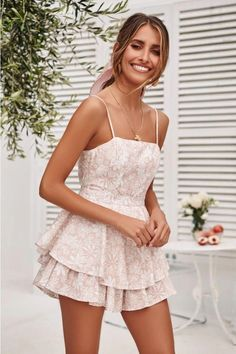 Our Sweet Fling Playsuit features a straight neckline, thin adjustable straps, tie up back, ruffles at the waist and a zipper running through for ease of wear. Boho Romper, Red Romper, Romper Outfit, Pink Playsuit, Romper With Skirt, Hoco Dresses, Pretty Dresses, Homecoming Dresses, Casual Dresses