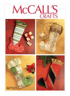 M7523 Stockings sewing pattern. Christmas, holiday