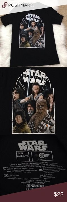 Star Wars: The Last Jedi T-Shirt! NWOT This a brand new never worn short sleeve tee from target. I loved it and panned to wear it to the next movie screening but forgot! Anyways someone should have it who will really enjoy it! Plus the material is a little softer than the normal t shirt material which means more comfy! Also it's a size child's xl but fits me fine and I'm a small! Star Wars Tops Tees - Short Sleeve