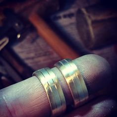 Busy busy hand making these beautiful two tone gold wedding/commitment rings