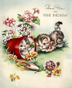 Retro vintage birthday card cute kittens cats by BigGDesigns