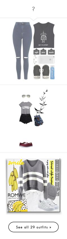""""""""""" by espinosasmile ❤ liked on Polyvore featuring shoes, sneakers, leather footwear, adidas footwear, leather shoes, leather trainers, adidas shoes, Topshop, Converse and Eddie Borgo"""