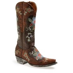 "Old Gringo 'Bonnie' Boot, 1 1/2"" heel (715 CAD) ❤ liked on Polyvore featuring shoes, boots, cowboy boots, mid-calf boots, lined boots, vintage cowboy boots, western boots, mid calf heel boots and flower cowgirl boots"