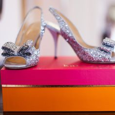 Sparkly Wedding Shoes // photo by: Nicole Ryan Photography // http://www.theknot.com/weddings/album/a-romantic-pink-wedding-in-austin-tx-138436