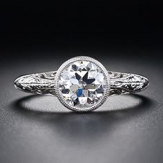 1.28 Carat Antique Style Engagement Ring - 10-1-4840 - Lang Antiques