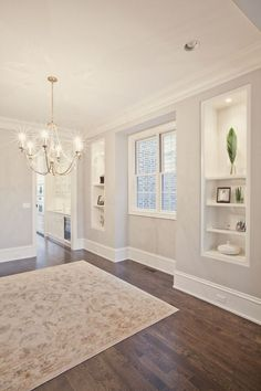 Love the floors and wall color… beautiful room! PLD Custom Home Builders …