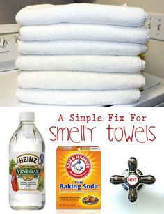 """A Simple Solution For Better Smelling, More Absorbent Towels. Over time, your bath towels will build up detergent and fabric softener residue. This not only attracts SMELLY mildew, it can essentially """"waterproof"""" your towels. If water can't get into the f Deep Cleaning Tips, House Cleaning Tips, Natural Cleaning Products, Spring Cleaning, Cleaning Hacks, Smelly Towels, Towels Smell, Clean Bath Towels, Clean Mildew Towels"""