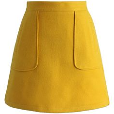 Chicwish Pocket of Charm Bud Skirt in Yellow ($42) ❤ liked on Polyvore featuring skirts, bottoms, saias, yellow, yellow knee length skirt, yellow skirt and pocket skirt