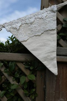 Curtain idea - make a banner of these Lace Bunting, Vintage Bunting, Wedding Bunting, Fabric Bunting, Bunting Garland, Pennant Banners, Bunting Banner, Fabric Decor, Rustic Wedding