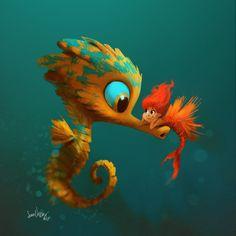 Art of Sam Nassour Cute Animal Illustration, Cute Animal Drawings, Cute Drawings, Illustration Art, Illustrations, Disney Drawings, Cartoon Drawings, Cartoon Art, Character Art