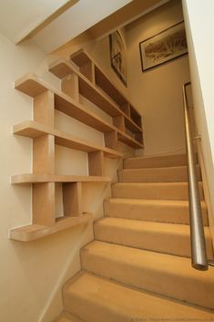 Staircase Bookshelf, Stairway Storage, Stair Shelves, Wall Mounted Bookshelves, Floating Bookshelves, Floating Stairs, Staircase Design, Floating Wall, Book Shelves