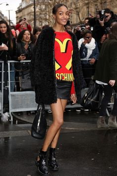 The Best #StreetStyle at Paris Fashion Week // Jourdan Dunn rocks a fast food inspired Moschino sweater
