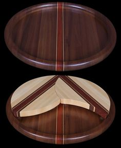 Solid Hardwood Lazy Susan Tray - Dark Color Wood - 16 Inches Round