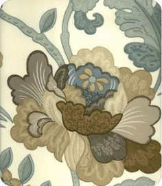 Empress of India Blue brown Floral print Fabric