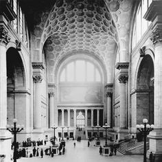 The waiting room area in the now demolished Pennsylvania Railroad Station building in NYC.