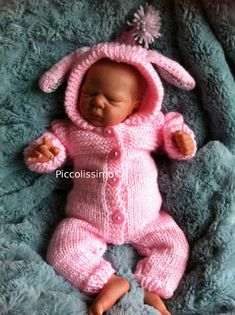 "Available knitting pattern  for a 12"" bunny all-in-one set  reborn baby ooak  https://www.etsy.com/listing/158484932/knitting-pattern-for-a-12-bunny-all-in?ref=v1_other_1 #knit for reborn #knit for 12 inch baby #12 inch #12 inch reborn #reborn doll #knitting pattern"